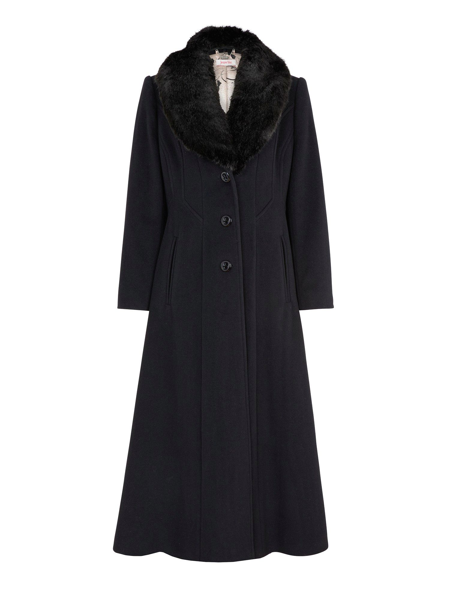 Jacques Vert Long Black Faux Fur Collar Coat In Black Lyst