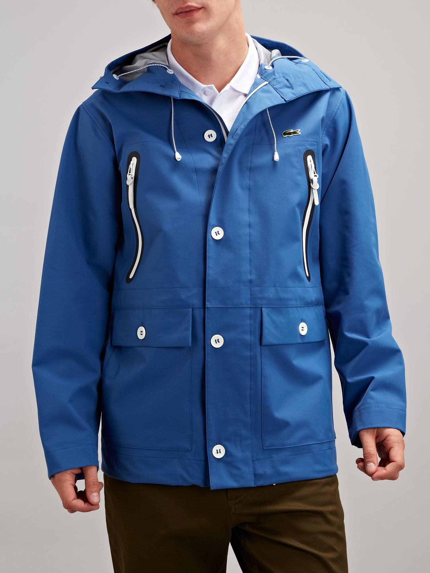 lacoste live hooded deck jacket in blue for men lyst. Black Bedroom Furniture Sets. Home Design Ideas