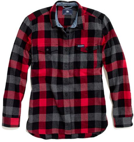 Madewell penfield chatham buffalo plaid flannel in red for Red buffalo flannel shirt