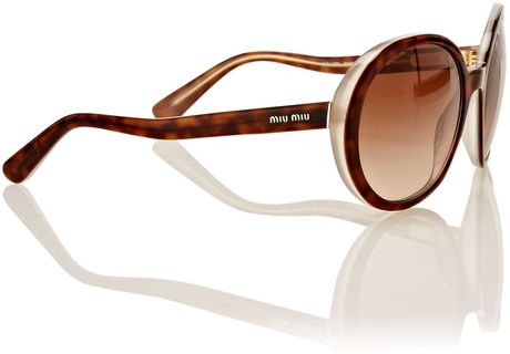 Miu Miu Ladies Mu 08ns Sunglasses in Brown
