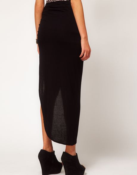 river island ruched side split maxi skirt in black lyst