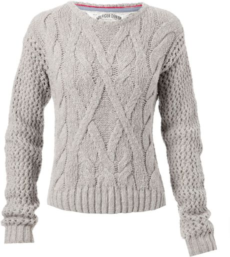 Tommy Hilfiger Long Sleeve Cable Knit Jumper with Crew Neck Aw in Gray (grey)