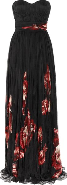 Alexander Mcqueen Floral-Print Pleated Silk Chiffon Gown in Black (floral)