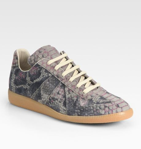 Maison Margiela Python Print Laceup Sneakers in Gray for Men (grey)