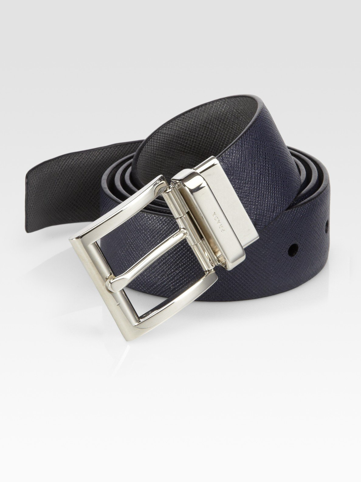 2aa7e66a0079f clearance lyst prada saffiano reversible leather belt in blue for men 949a2  ad1ac