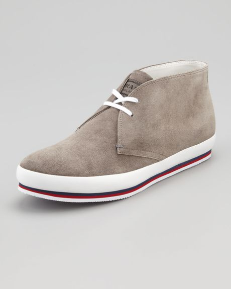 prada suede chukka boot gray in gray for lyst