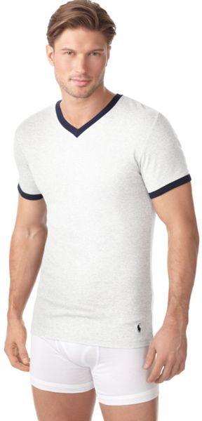Ralph Lauren Summer Games Ringer V Neck T Shirt In White