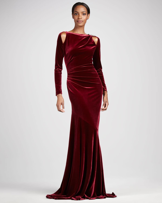 Lyst - Teri Jon Stretch Velvet Gown in Red