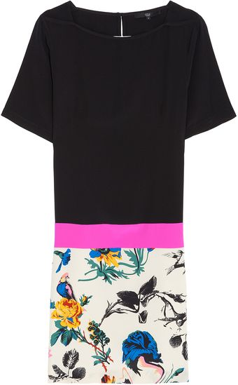 Tibi Belle Print Colour Block Shift Dress - Lyst