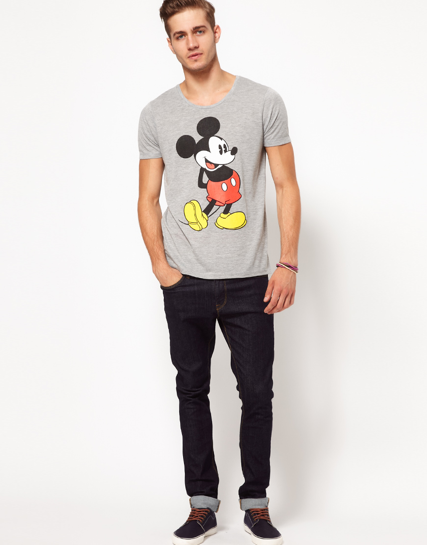 lyst asos t shirt with mickey mouse print in gray for men. Black Bedroom Furniture Sets. Home Design Ideas