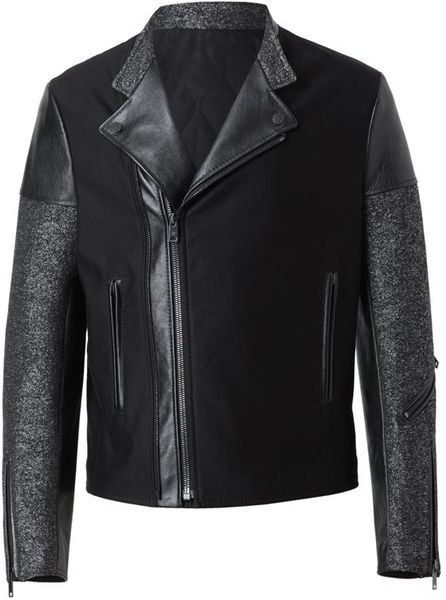 Balenciaga Leather and Flecked Tweed Motorcycle Jacket in Black for Men