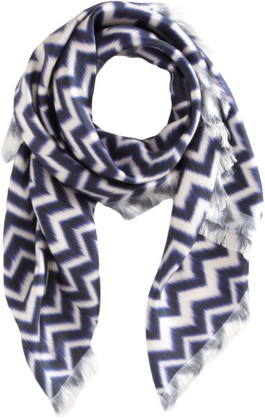 David Szeto Ikat Zig Zag Square Scarf in Blue (navy) - Lyst