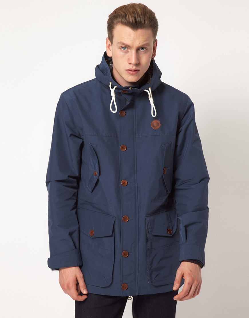 lyst fred perry parka hooded in blue for men. Black Bedroom Furniture Sets. Home Design Ideas