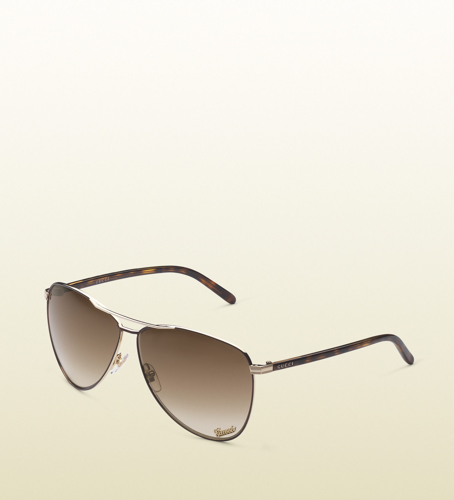 c47936f33bb Lyst - Gucci Aviator Sunglasses with Gucci Signature Pad On Lens and ...