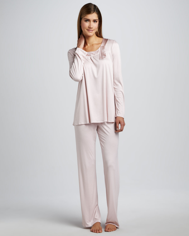 2ab73455b8d Hanro Salome Satintrim Pajamas in Pink - Lyst