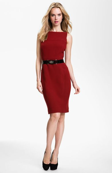 milly belted sheath dress in burgundy lyst