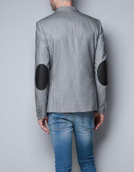 Zara Houndstooth Blazer In Gray For Men Grey Lyst