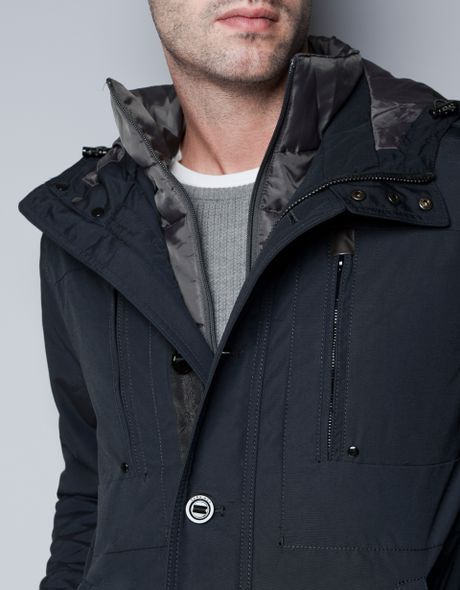 Zara Jacket With Detachable Hood In Blue For Men Navy Lyst