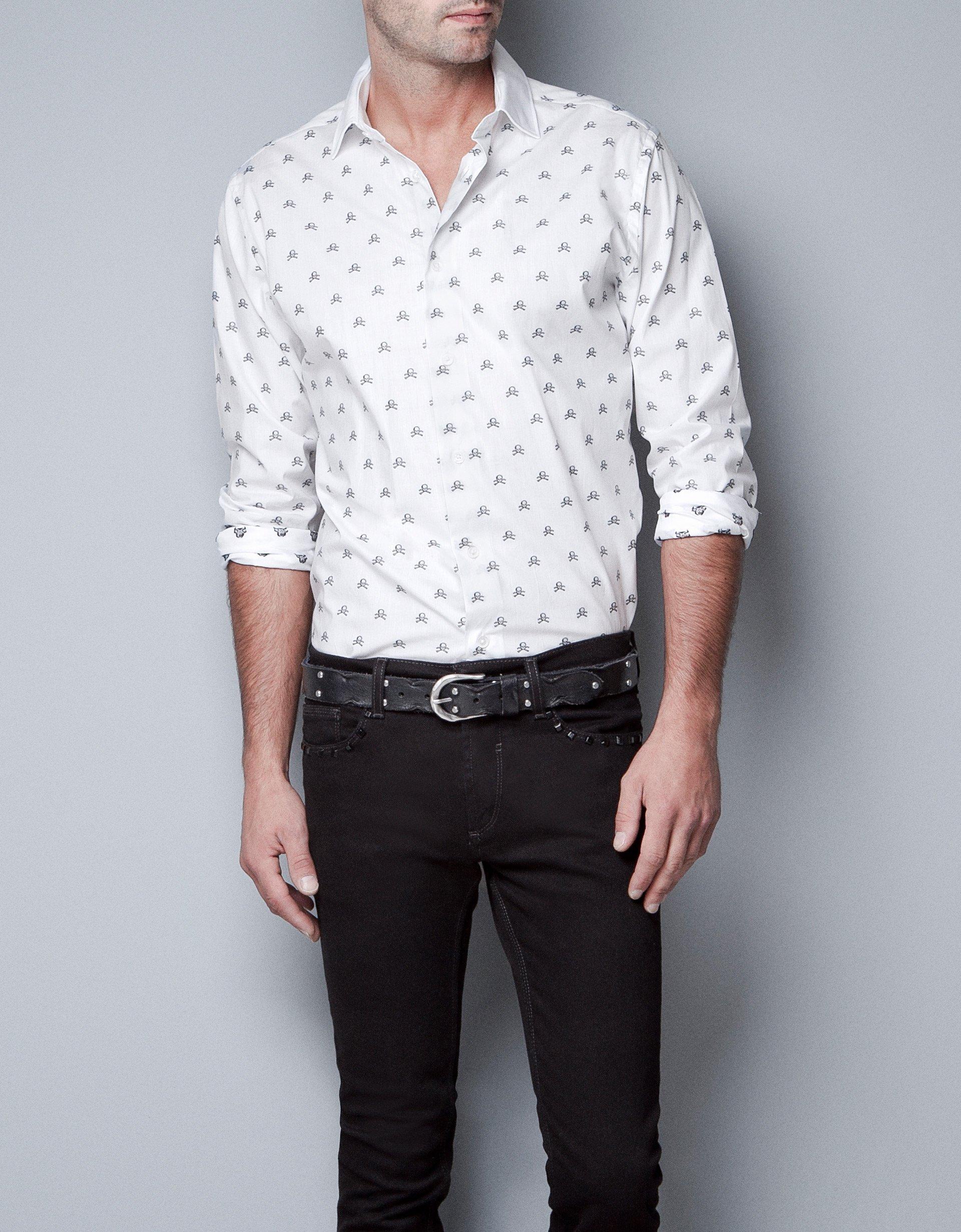 zara skull shirt in white for men lyst
