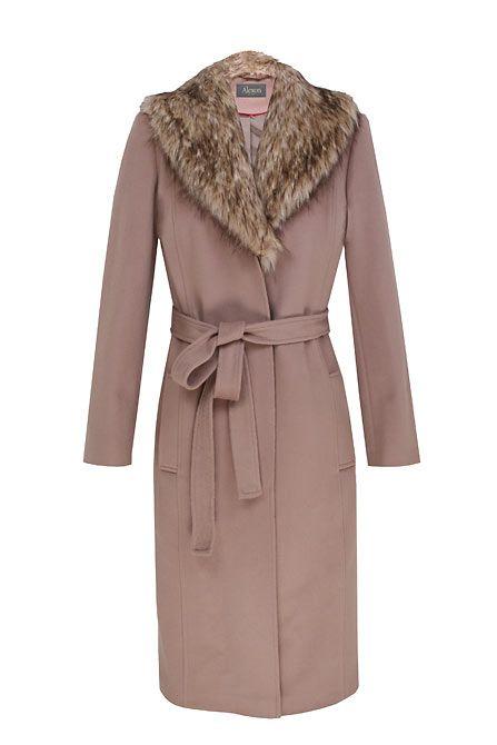 Alexon Nude Three Quarter Length Fur Collared Coat In