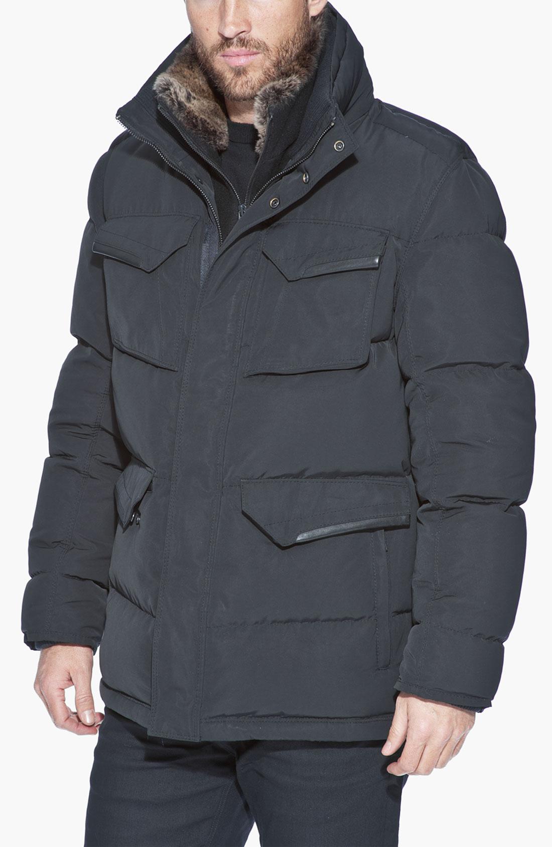 Andrew Marc Atomic Rain Jacket With Genuine Rabbit Fur