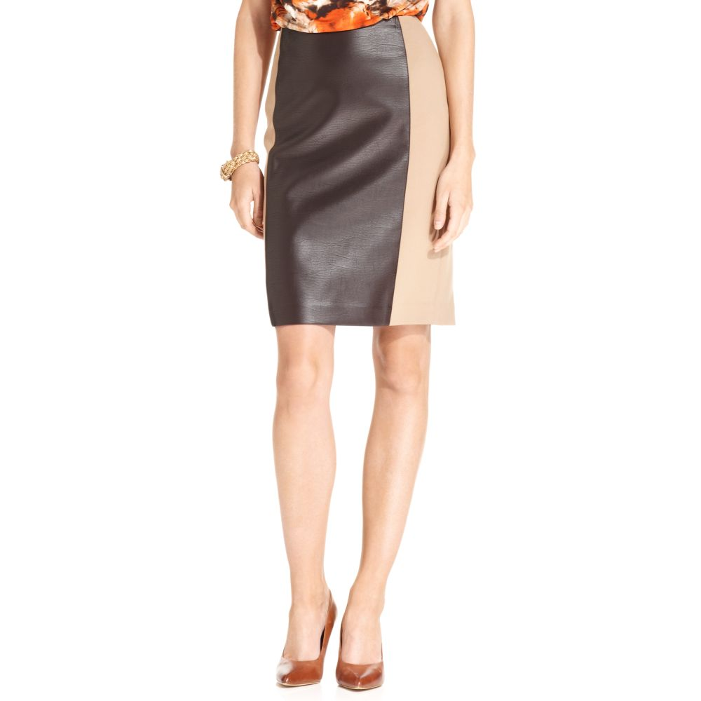 klein faux leather pencil skirt in brown lyst