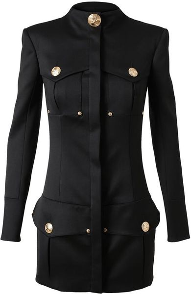 Balmain Structured Woolblend Military Dress in Black