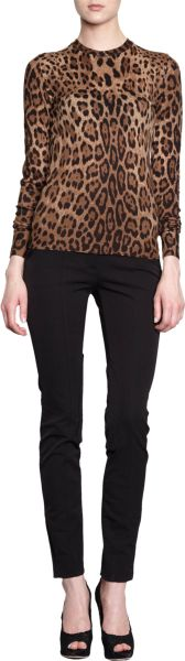 Dolce & Gabbana Leopard Crewneck Sweater in Animal (leopard)