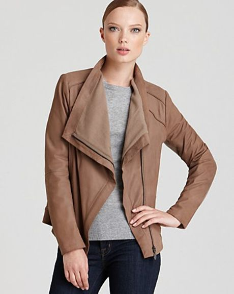 Elie Tahari Andreas Drape Front Leather Jacket in Beige (sand) | Lyst
