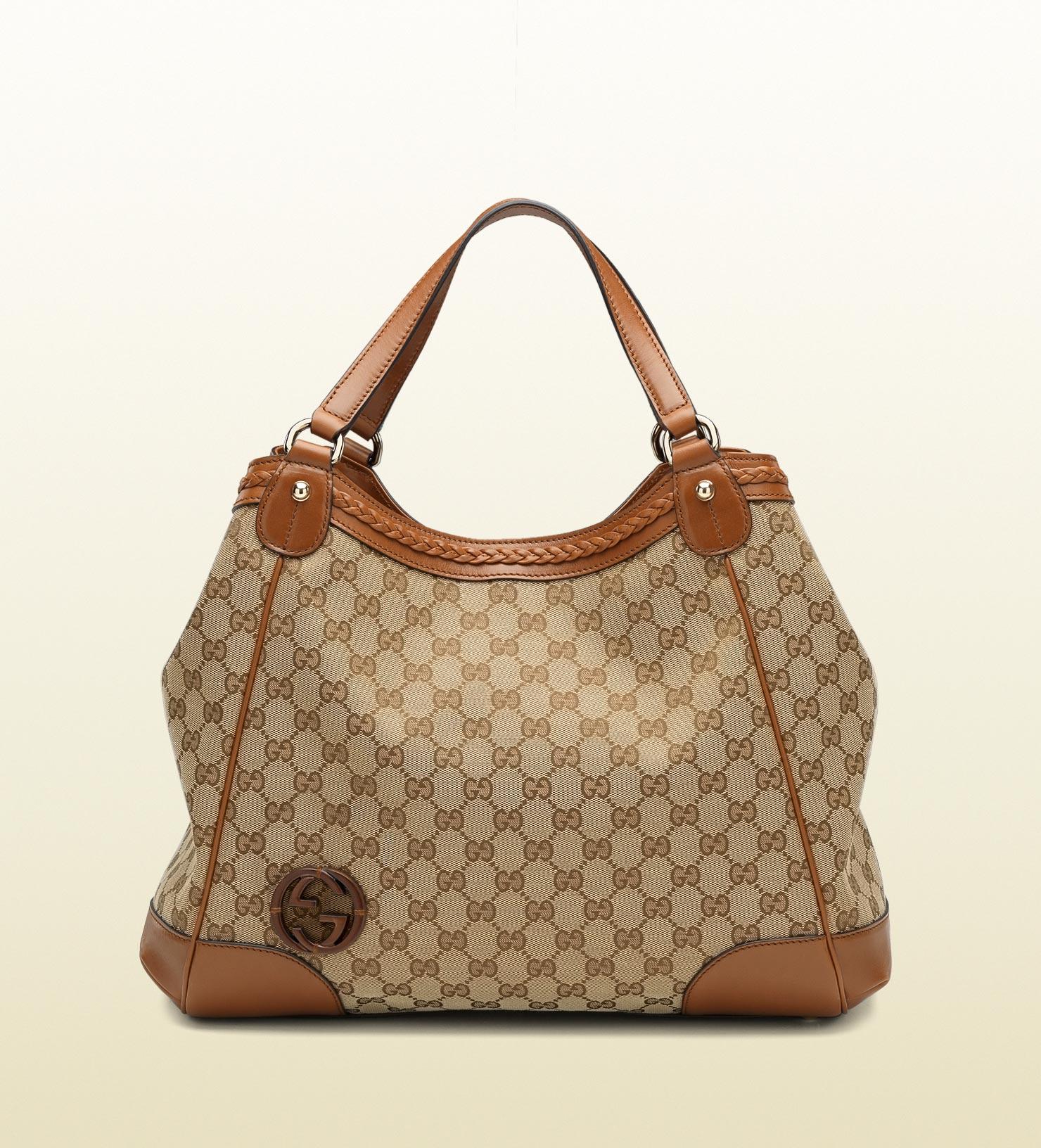 e8c15e185514 Gucci Brick Lane Original Gg Canvas Tote in Brown - Lyst Gucci Tian Garden  Tote Bag ...