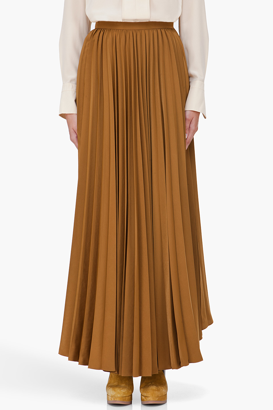 Kenzo Long Bronze Pleated Skirt in Brown | Lyst