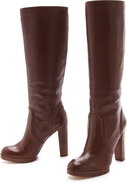 kors by michael kors aila high heel boots in brown mocha
