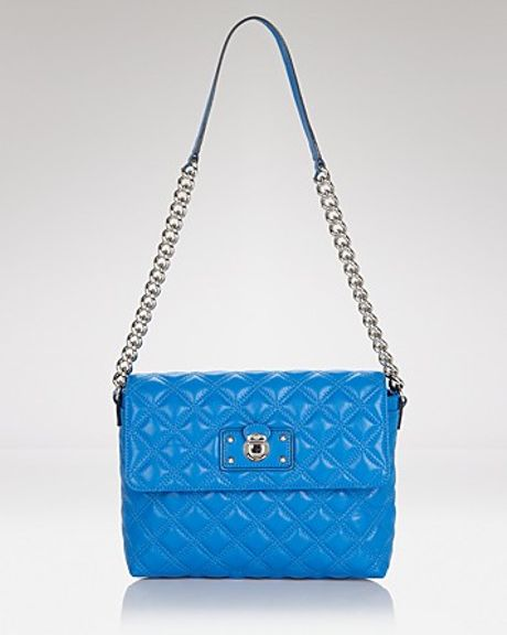 Marc Jacobs Shoulder Bag Iconic Quilting Large Single in Blue (bordeaux gold)