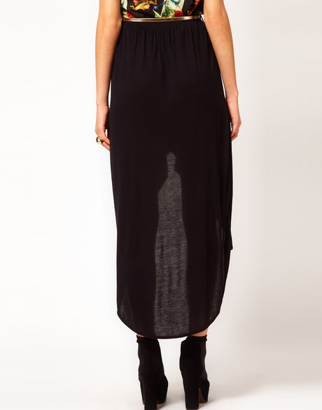 river island wrap maxi skirt in black lyst