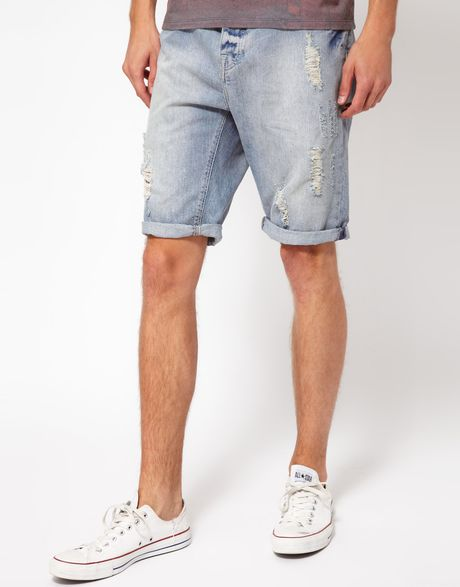 river island ripped denim shorts in blue for men lyst