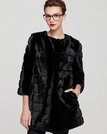 Sam edelman Faux Mink Fur Coat in Black | Lyst