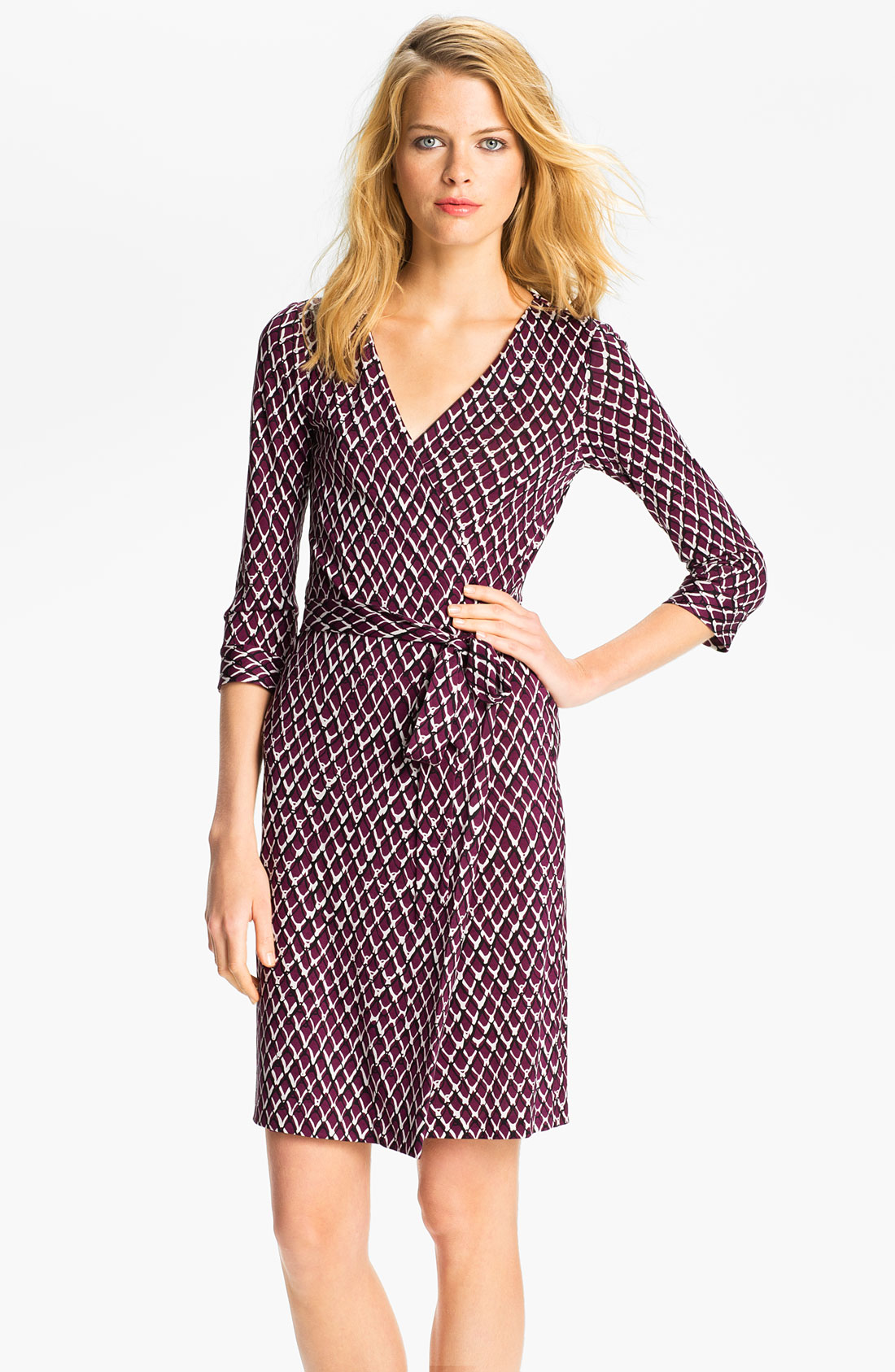 Diane von furstenberg new julian two dress in purple plum for Diane von furstenberg clothes