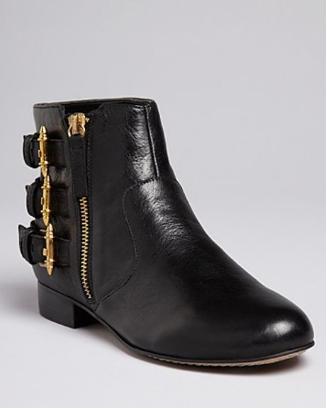 Dolce Vita Buckled Flat Booties Bale In Black Lyst