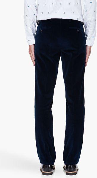 Kenzo Dark Blue Velvet Formal Pants In Blue For Men | Lyst