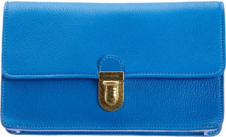 Marc Jacobs Venetia Matte Clutch in Blue (gold)
