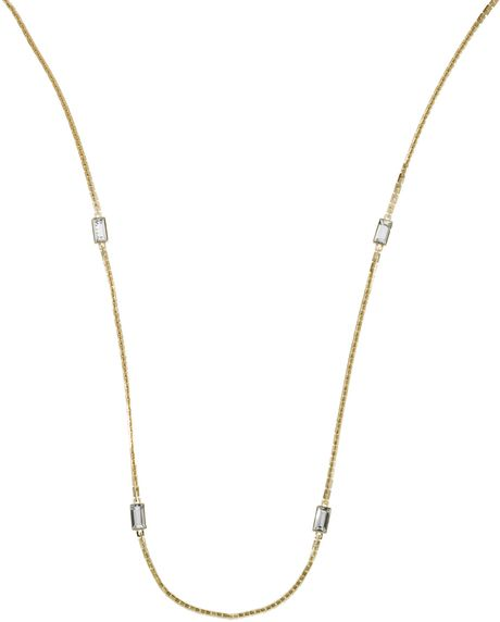 Michael Kors Chain and Crystal Necklace Golden in Gold (golden) - Lyst