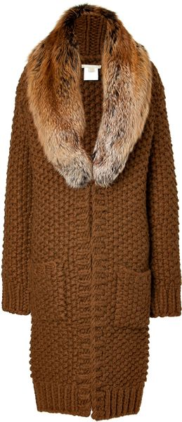 Michael Kors Saddle Textured Knit Coat with Removable Fox Collar in Brown