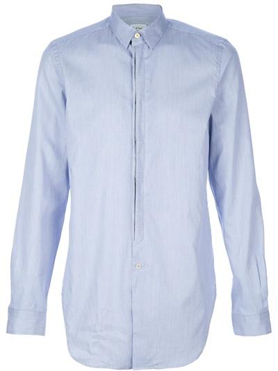Paul Smith Hidden Placket Shirt In Blue For Men Lyst