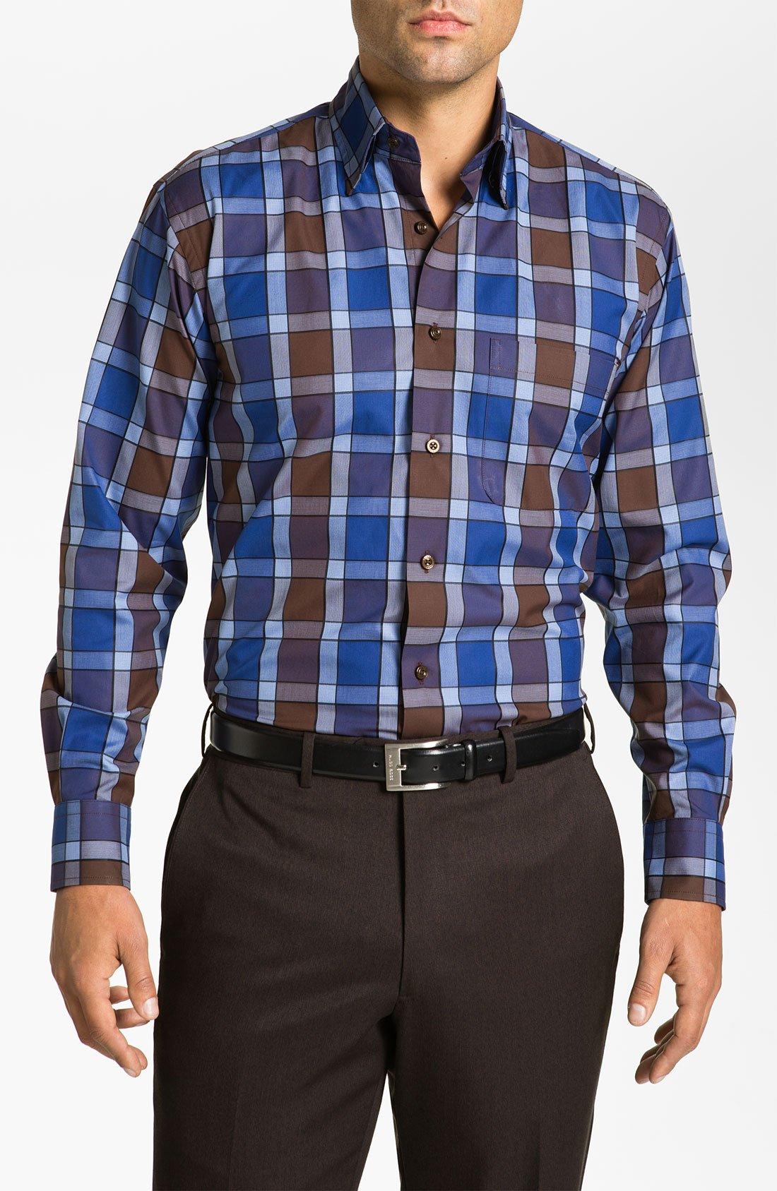 Robert talbott regular fit sport shirt in blue for men for Robert talbott shirts sale