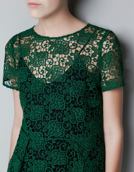 Zara Lace and Peplum Top in Green | Lyst
