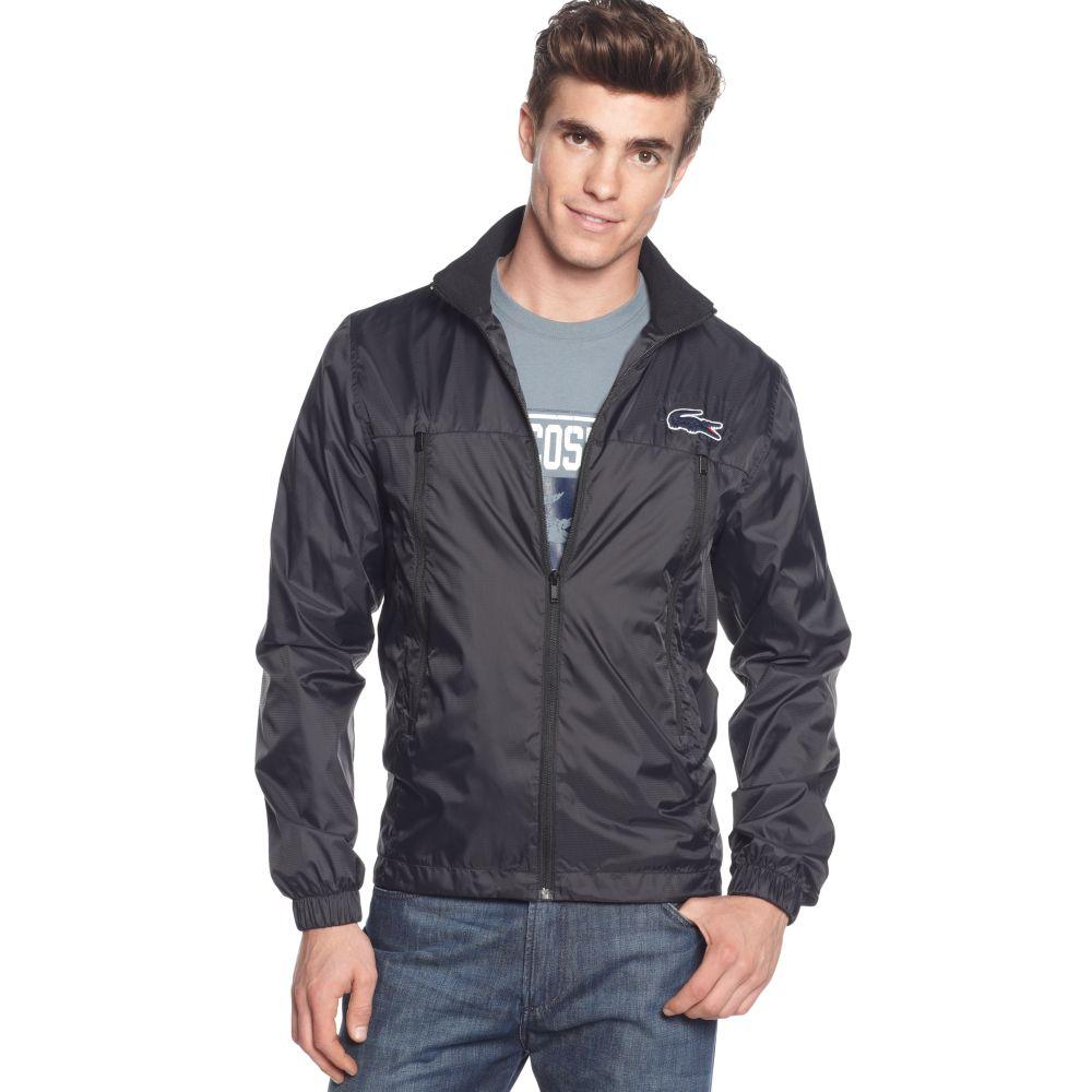 lacoste waterproof sport jacket in black for men lyst. Black Bedroom Furniture Sets. Home Design Ideas