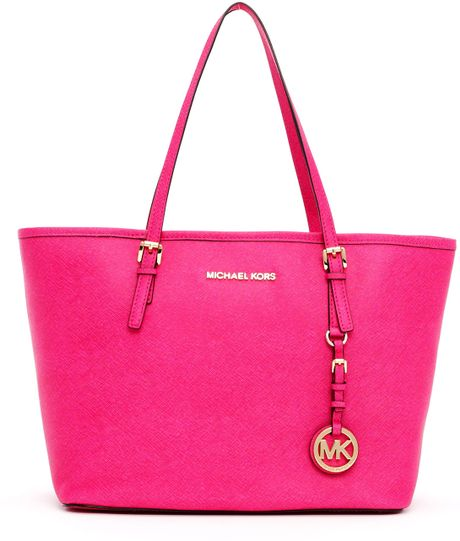 michael michael kors small jet set saffiano travel tote in pink lyst. Black Bedroom Furniture Sets. Home Design Ideas