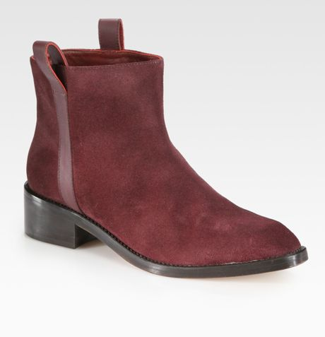 surface to air suede leather ankle boots in burgundy