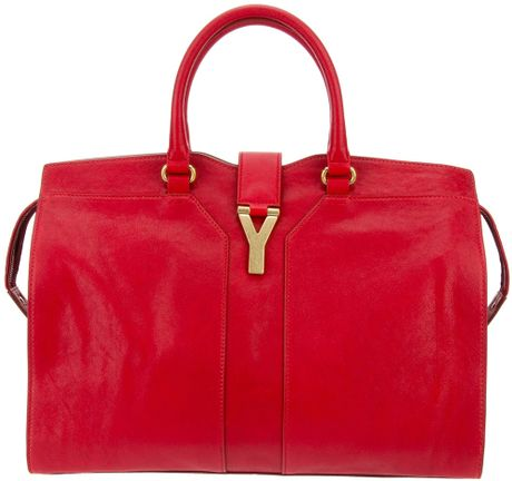 Saint Laurent Cabas Chyc Tote in Red