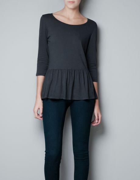 Zara Casual Peplum Tshirt in Gray (coal) - Lyst